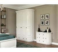 Шкаф Омега 4-х дверный с ящиками (2 круглых, 2 прямых) белый
